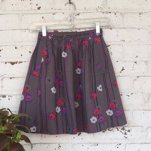 Cute skirt with flowers and stripes print